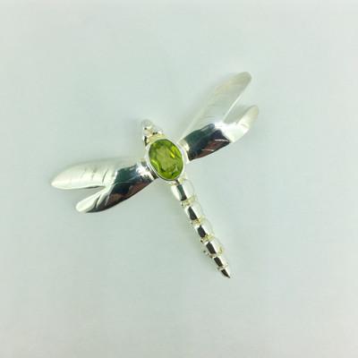 Sterling Silver Peridot Dragonfly Pin/Pendant