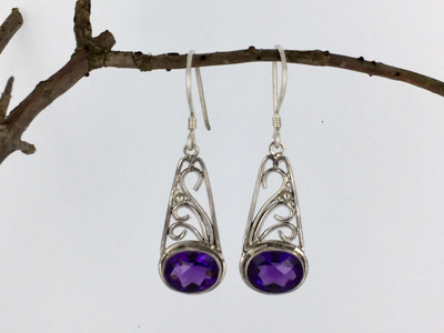 Amethyst Filigree Sterling Silver Earrings