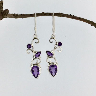Amethyst Triple Stone Sterling Silver Earrings