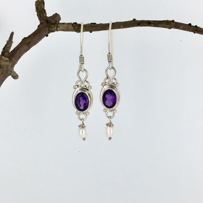 Amethyst Sterling Silver Dangle  Earring w/Pearl Drop