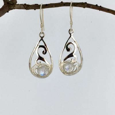 Moonstone Teardrop Sterling Silver Dangle Earrings