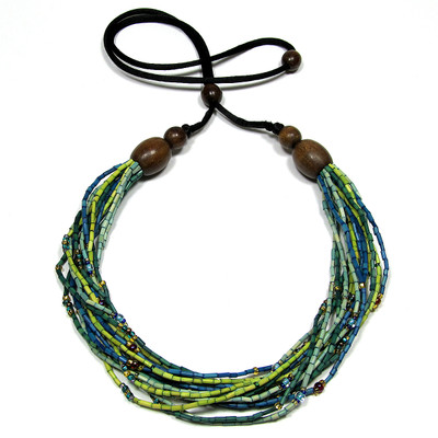 handmade zulugrass african bead necklace in spring grass