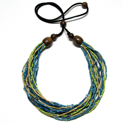 handmade zulugrass african bead necklace in morning dip