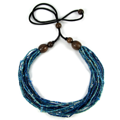 handmade zulugrass african bead necklace in bright angani
