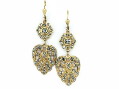 Gold Art Deco Heart Black Diamond Swarovski Crystal Earrings