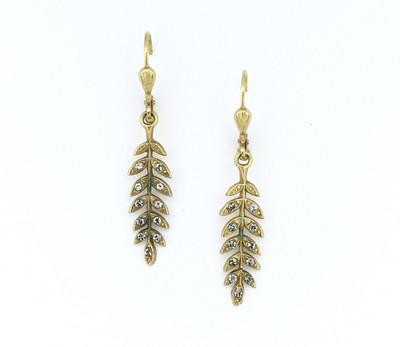 Gold Black Diamond Swarovski Crystal Leaf Design Earrings