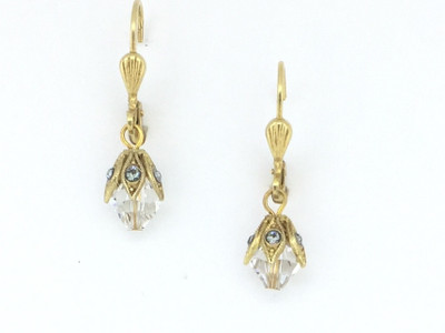 Gold Capped Clear Swarovski Crystal Earring
