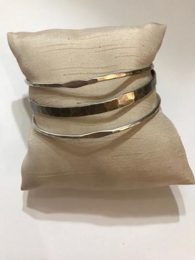 Antiqued Silver 3 Bangle Bracelet Set