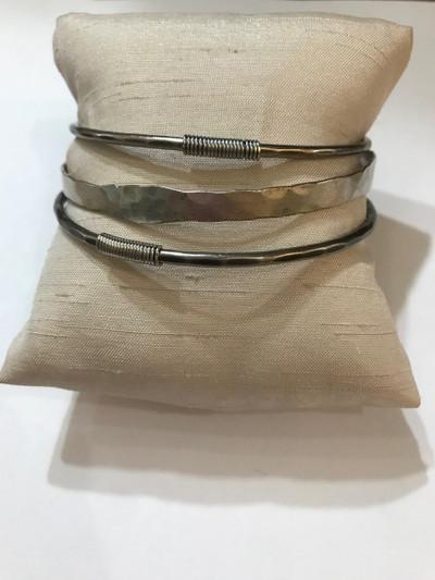 Antiqued Silver 3 Bangle Bracelet Set with Coils