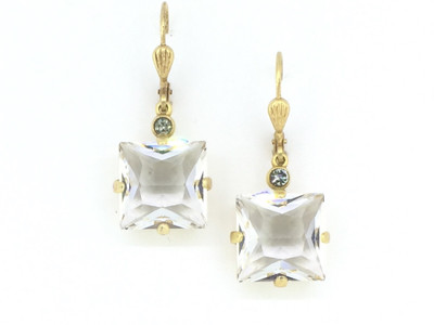 Gold Clear Square Swarovski Crystal Earrings
