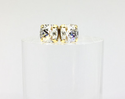 Gold Clear Crystal Swarovski Square Stud Earrings