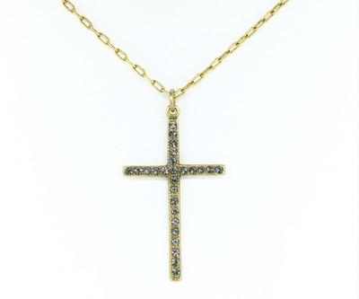 Gold Black Diamond Swarovski Crystal Cross Necklace
