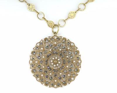 Gold Black Diamond/Pearl Filigree Lace Medallion Necklace