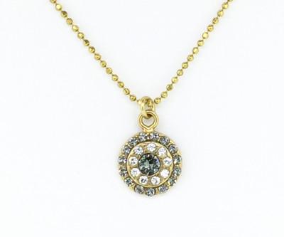 Delicate Round Black Diamond & Clear Swarovski Crystal Necklace