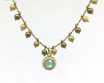 Gold Beaded Chain Pacific Opal Swarovski Crystal Necklace