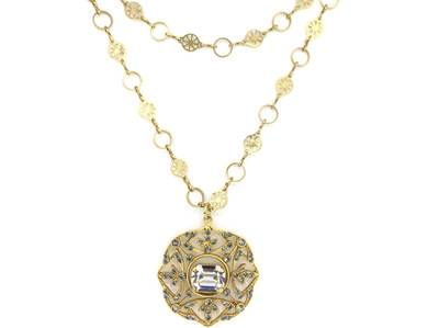 Gold Black Diamond/Clear Swarovski Crystal Medallion Necklace