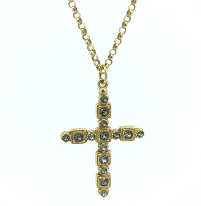 Gold Black Diamond Cross Necklace
