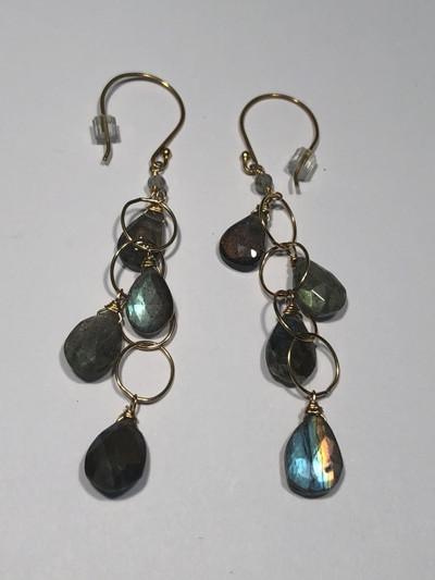 Labradorite 4 Drop Gold Circle Chain Earrings