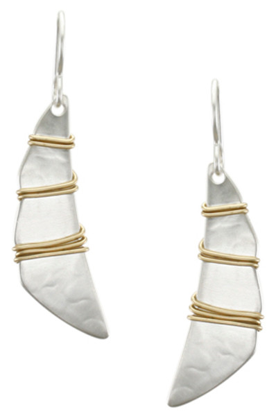 Silver Dangle Earring with Brass Detail, Fish Hook