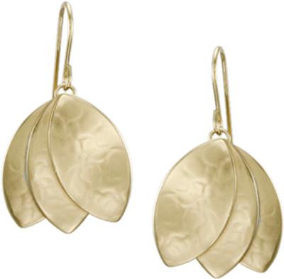 Brass Tulip-Shaped Dangle Earring