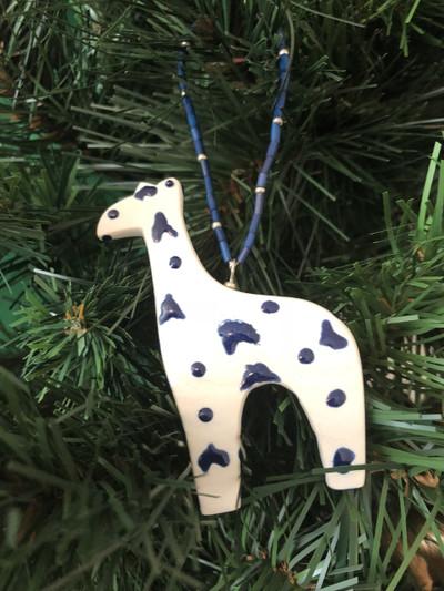 Hand-Painted White Porcelain Giraffe Ornament