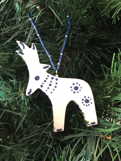 Hand-Painted White Porcelain Reindeer Ornament