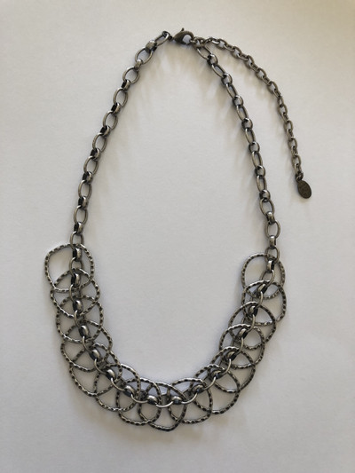 Antique Silver Interlocking Square Necklace