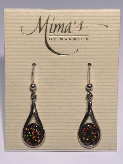 Sterling Silver Fire Opal Dangle Earrings