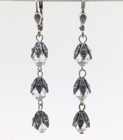 3-Tier Capped Clear Crystal Bead Earrings