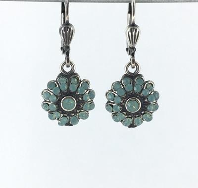 Silver Flower Pacific OpalCrystal Earrings
