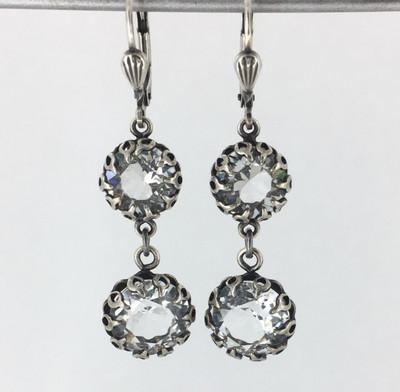 Silver Encased Clear Crystal Double Drop Earrings