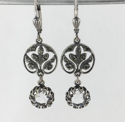 Silver Filigree Clear Crystal w/Drop