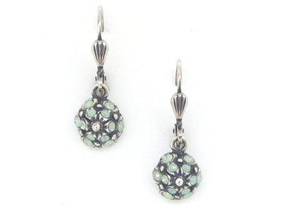 Silver Demi Circle Pacific Opal Swarovski Crystal Earrings