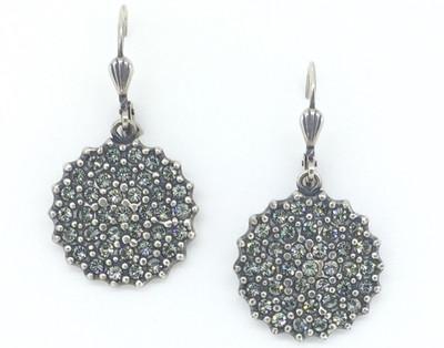 Silver Black Diamond Crystal  Silver Earrings