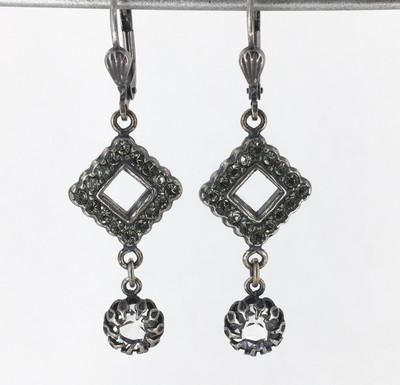 Silver Black Diamond Drop Earrings
