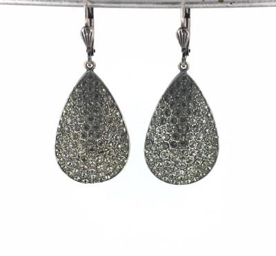 Silver Pave̩ Teardrop Black Crystal Earrings