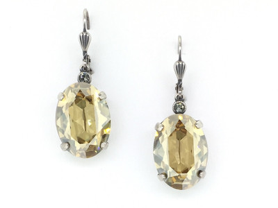 Silver Large Oval Champagne Crystal Earrings