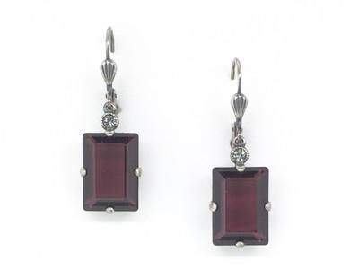 Silver Emerald Cut Burgundy Crystal Earrings
