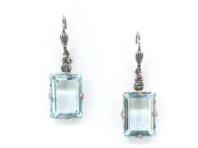 Silver Emerald Cut Blue Ice Crystal Earrings