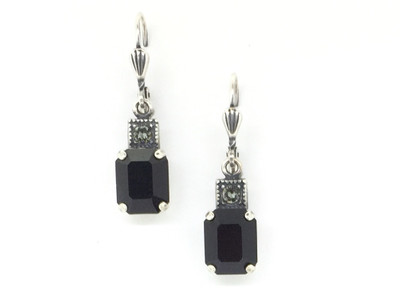 Silver Small Rectangle Crystal Earrings