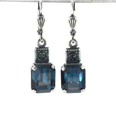 Small Silver Rectangle Montana Blue Crystal Earrings