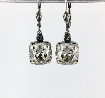Small Silver Square  Shade Crystal Earrings