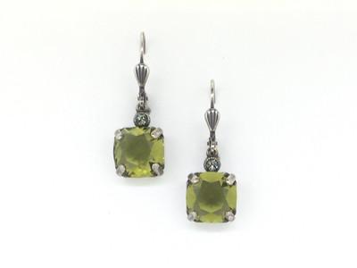 Small Silver Square Khaki Crystal Earrings