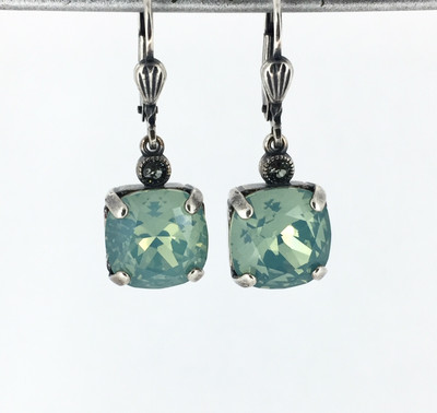 Small Silver Square Pacific Opal Crystal Earrings