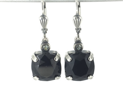 Small Silver Square Black Crystal Earrings
