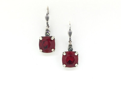 Small Silver Square Siam Crystal Earrings
