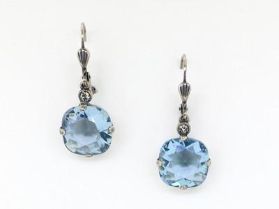Silver Square Light Blue Crystal Earrings