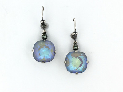 Silver Square Arctic Crystal Earrings
