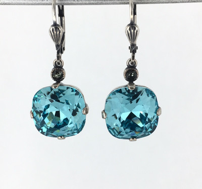 Silver Square Teal Crystal Earrings