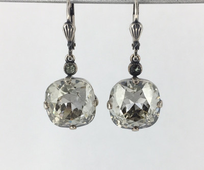 Silver Square Crystal Earrings, Shade